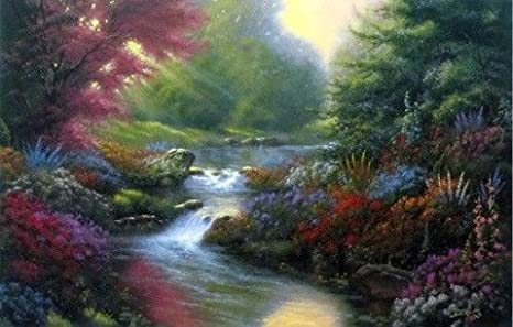 "Secret Creek By Derk Hansen Stream Flowers Landscape  Print  12/"" x 7.75/"""