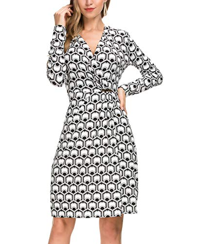 Le Vonfort Womens Retro Surplice V Neckline Cocktail Geometric Print Loose Fit Casual Pleated Stretchy Faux-Wrap Dress Black White Medium ()