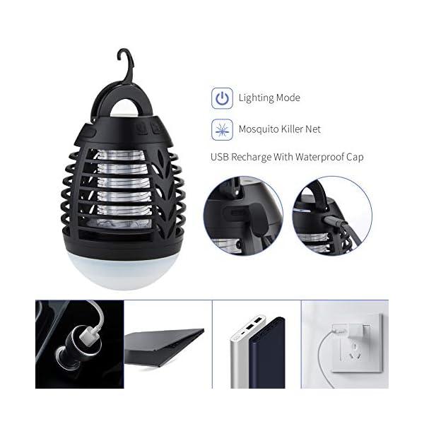 2 in 1 Lampada Anti Zanzara, USB Repellente per zanzare Lampada con lampada da Campeggio,Impermeabile IP67,3 Luminosità… 3 spesavip