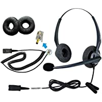 DailyHeadset RJ9 Duo Corded Office Phone Headset Noise Cancelling Over Ear Headphones Compatible Cisco Office IP Phone 69xx 79xx 89xx 99xx Series (Ref Below Listing models)