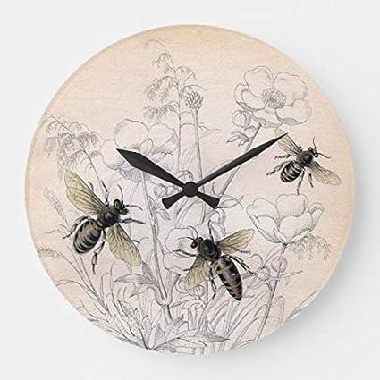Amazoncom Vintage Honey Bee Art Print Wood Wall Clocks Decorative