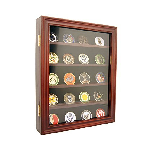 (DECOMIL - Lockable 30 Military Challenge Coin, Poker Chip, Sports Coin Display Case Cabinet, Glass Door, Coin30-CHR)