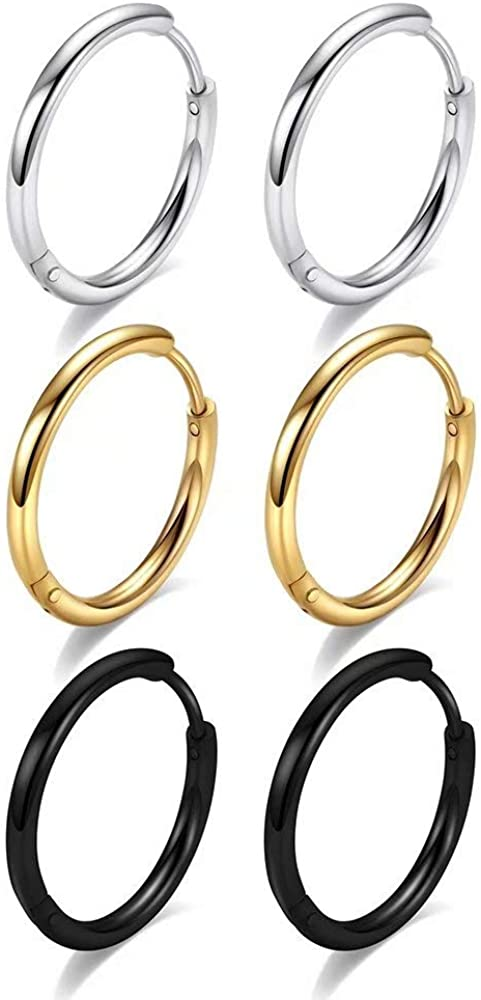 Huggie Hoop Earrings for Women Men - 316L Surgical Stainless Steel 6mm 8mm 10mm Mens Ear Hugging Hoop Earrings for Cartilage Gold Black 20G 18G Hypoallergenic Second Hole Sleeper Hoop Earrings
