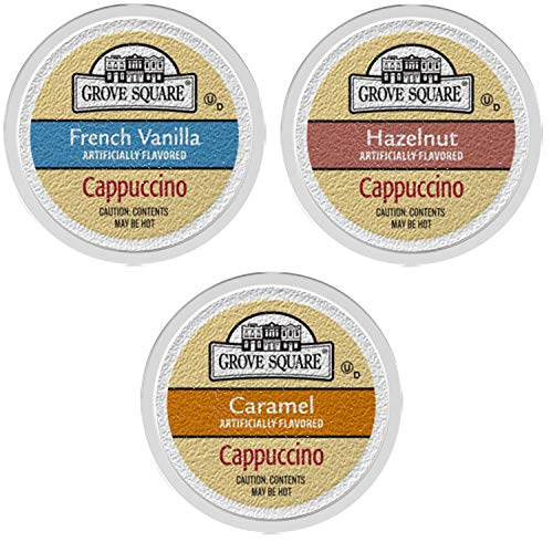 (Grove Square Cappuccino Variety Pack, 72 Single Serve Cups )