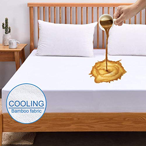 Queen Mattress Protector Cooling Mattress Protector 100% Hypoallergenic Waterproof Mattress Pad Cover - Bamboo Terry Top - Fitted 8-21 Deep Pocket - Breathable, Noiseless&Vinyl Free