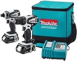 Makita LCT200W Kit de taladro inalámbrico compacto con batería de ion litio de 18 V, 2 piezas