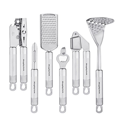 Stainless Steel Utensil Set, 6-Piece Kitchen Gadgets Tool Sets with Garlic Press, Bottle Opener, Peeler, Grater, Potato Masher and Can (6 Piece Kitchen Gadget)