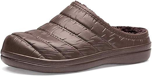 WYEZ Zuecos Invierno Unisex Zapatillas Cálidas De Jardín Forradas De Casa Zapatillas De Algodón con Suela Antideslizante Zapatos Impermeables para Interiores Y Exteriores,Café,44/45: Amazon.es: Hogar