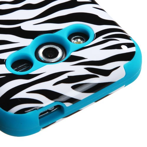 Samsung Galaxy Avant Case, Rock Me Wireless (TM) 2 items Bundle - 24K Gold Plating Electromagnetic Waves Blocking Sticker and Triple Layers Protective Case for Samsung Galaxy Avant G386T. (Zebra / Teal)