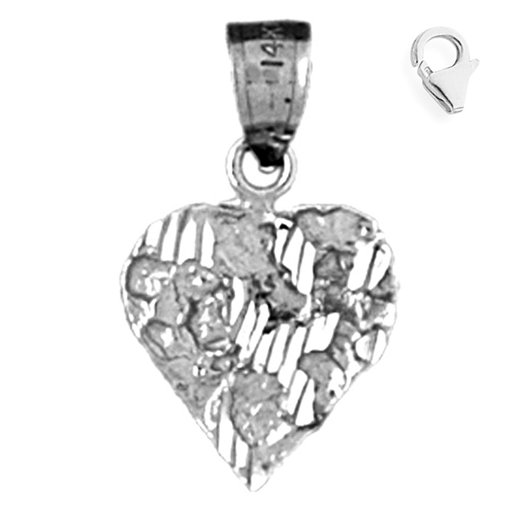 Sterling Silver 21mm Nugget Heart with 7.5 Charm Bracelet Jewels Obsession Nugget Heart Pendant