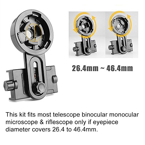 AYAMAYA Universal Smartphone Adapter Mount Telescope Connection Stand Holder Compatible with Binocular Monocular Spotting Scope Telescope and Microscope for Eyepiece Diameter 26mm to 46mm by AYAMAYA (Image #4)