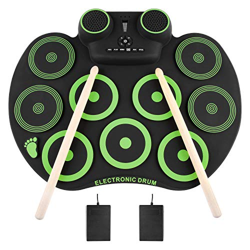 YISSVIC Electronic Drum Set Electric Drum Set 9 Drum Pads Rechargeable Battery Roll Up Drum Portable with Headphone Jack Built-in Speaker for Kids or Beginner (Kids Electronic Drum Set)