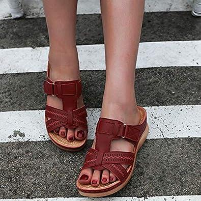 Mules Femmes Sandales Sabots Chaussons Chaussures en Cuir Mules /à Plateforme Talon compens/é Bout Ouvert Plage Vacances Taille 35-44