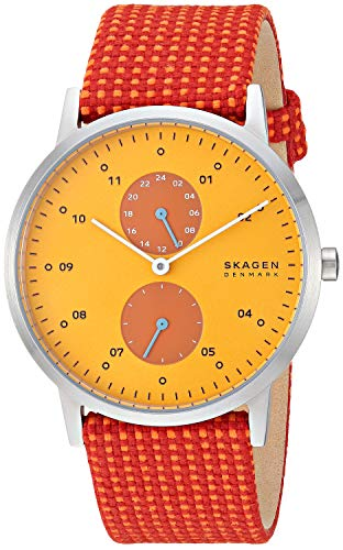 Skagen Men's Kristoffer Multifunction Quartz Stainless Steel and Fabric Casual Watch Color: Stainless, Yellow/Red (Model: SKW6527)