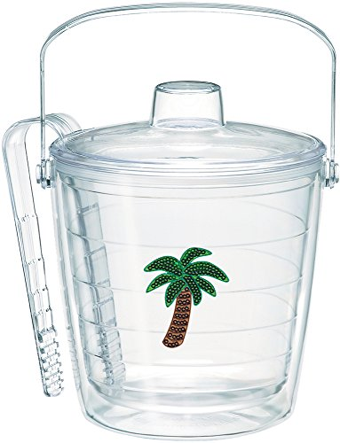 - Tervis 1186726 Sequin Palm Tree Insulated Tongs with Emblem Lid-Boxed, 87oz Ice Bucket, Clear