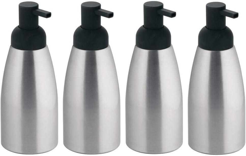 mDesign Modern Aluminum Metal Refillable Soap Dispenser Pump Bottle for Bathroom Vanity Countertop, Kitchen Sink - Holds Dish Soap, Hand Sanitizer, Essential Oils - Rust Free, 4 Pack - Brushed/Gray