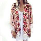 Wensltd Clearance! Women Printed Chiffon Floral Shawl Kimono Cardigan (L)