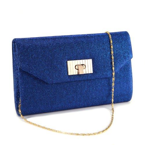 Anladia Dazzling Glitter-Tone Fold Over Flap Twist Lock Lady Clutch Shoulder Bag Handbag