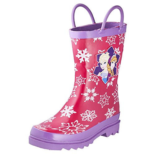 Disney Frozen Girls Anna and Elsa Pink Rain Boots - Sizes Infant Toddler (9 M US Toddler)
