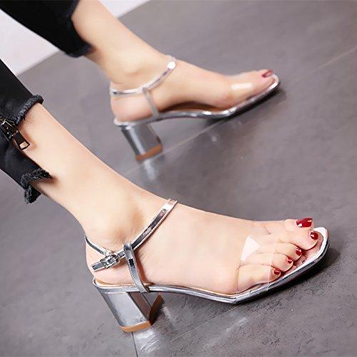 Sandalias silvery Moda Cuadrados Damas Tacones YMFIE y pies Zapatos Tobillo de de Verano Altos Zapatos lacas TZSfaAwq