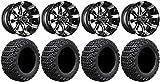 Bundle - 9 Items: Madjax Octane Machined Golf Wheels 14'' 23x10-14 X-Trail Tires [for E-Z-GO & Club CarGolf Carts]
