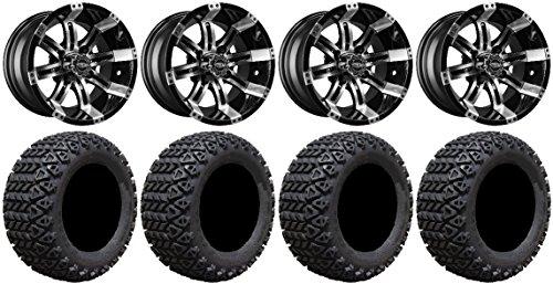 Bundle - 9 Items: Madjax Octane Machined Golf Wheels 14'' 23x10-14 X-Trail Tires [for E-Z-GO & Club CarGolf Carts] by Powersports Bundle