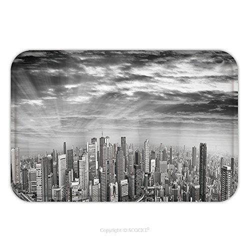 Vintage Vw Ads (Flannel Microfiber Non-slip Rubber Backing Soft Absorbent Doormat Mat Rug Carpet Amazing Black And White Panoramic Sunset View Of Osaka Skyline Japan All Ads Removed 610815671 for Indoor/Outdoor/Bathr)