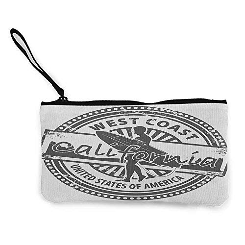 Women's hand bag clutch bag Ride The Wave West Coast California United States of America Grunge Vintage Stamp Print Wallet Coin Purses Clutch W 8.5