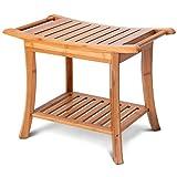 24'' Bamboo Shower Bench Spa Seat Organizer Stool Rounded Corners w/Storage Shelf