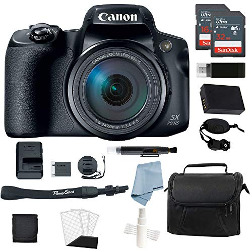 Canon Powershot SX70 HS 4K Video Digital Camera + Advanced Accessory Kit