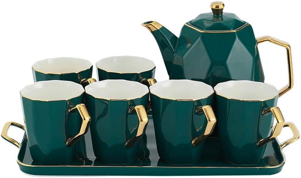 お茶サービス シンプルなヨーロッパの磁器手作りのティーセットコーヒーカップとソーサーセットフラワーティーカップアフタヌーンティーセットマラカイトグリーン (Color : Green, Size : 23x24cm)