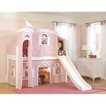 Bolton Furniture 9811500LT6PW Cottage Low Loft Castle Bed White with Pink/White Top Tent Bottom Playhouse Curtain Tower and Slide  sc 1 st  Amazon.com & Amazon.com: Powell Princess Castle Twin Tent Bunk Bed with Slide ...