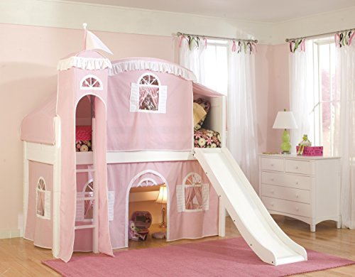 Tent Cottage Kids Furniture (Bolton Furniture 9811500LT6PW Cottage Low Loft Castle Bed, White with Pink/White Top Tent, Bottom Playhouse Curtain, Tower and Slide)