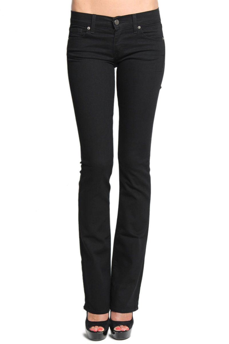 TheMogan Women's Basic Slim BOOTCUT JEANS Flare Pants 0~3XL-Black-1XL