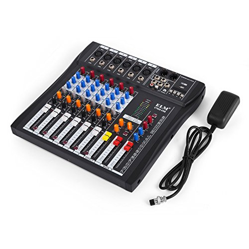 VEVOR 6 Channel Audio Mixer with 48V Phantom Power Mixing Console USB MP3 Audio Sound Mixer for Recording DJ Stage Karaoke Music Appreciation (6-channel) ()
