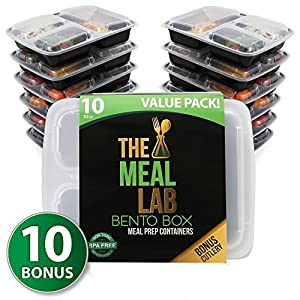[Value-Pack] LONGER LASTING 3-Compartment BPA FREE Stackable Meal Prep Food Storage Containers with Lids | Microwave & Dishwasher Safe Bento Lunch Box | Portion Control Plates + FREE Weight Loss eBook