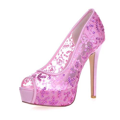 L@YC 3128-33 Plataforma De TacóN alto Para Mujer Peep Toes Pump Lace Ribbon Court Shoes Pink