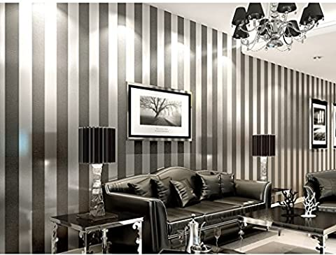 Strip Wall paper Minimalist Luxury Gorgeous Wall Covering Home Decoration Stripe Wallpaper, Silver White, 20.8 Inches By 393 Inches (Wallpaper Luxury)