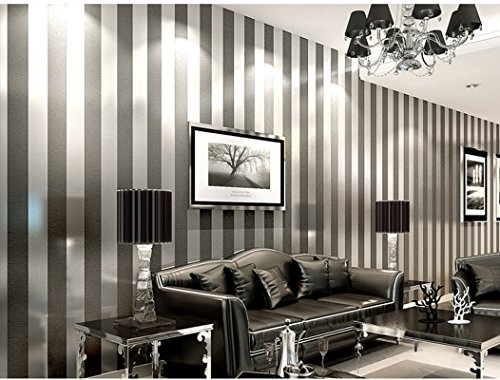 Strip Wall paper Minimalist Luxury Gorgeous Wall Covering Home Decoration Stripe Wallpaper, Silver White, 20.8 Inches By 393 Inches (black)