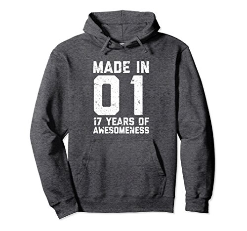 Unisex 17th Birthday Hoodie Gift Girl Boy Age 17 Year Old Girls Medium Dark Heather