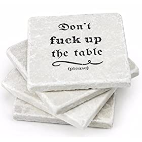 Marble Coasters For Drinks – Funny Housewarming Gifts Wedding Gift Or For Your Kitchen, Living