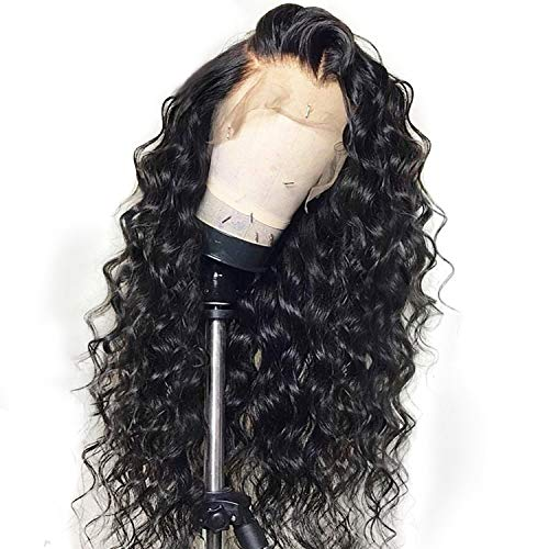 Curly Lace Front Human Hair Wigs For Women Black Color Brazilian Lace Wig Frontal Plucked Full End Can Make 360 Circle,Natural Color,12inches (Swiss Waldorf)