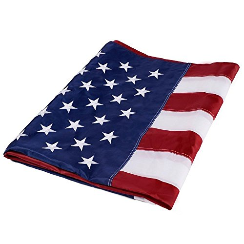 [3'x5' ft American Flag Sewn Stripes Embroidered Stars Brass Grommets USA US U.S.] (Top Gun Costume Patches)