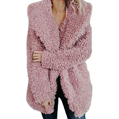 (Women's Fashion Faux Fur Lapel Thick Wool Trench Coat Lapel Winter Jacket KIKOY)