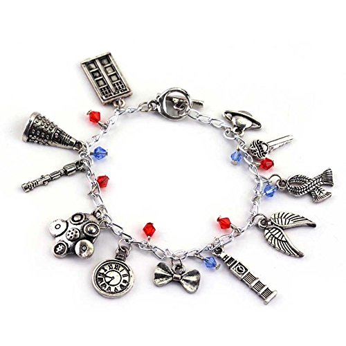 J&C Family Owned Dr. Who 11 Logo Charms Toggle Clasp Bracelet w/Gift Box (Toggle Heart Puff)