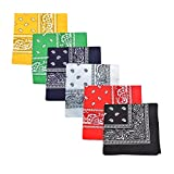 Pack of 6 X Large Paisley 100% Cotton Double Sided Printed Bandana - 27 x 27 inches (Mix)