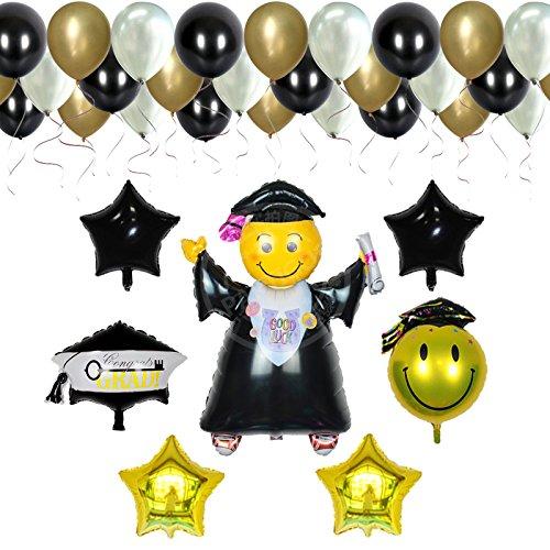 Partigos 37pieces balloon Kit gold white black Congratulations Graduate balloons Congrats Party Supplies
