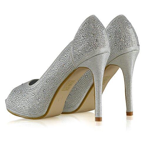 Shoes Diamante Toe Pump Heel Glitter Heels Elegant Womens Stiletto Silver Platform GLAM Peep ESSEX qwXPtP