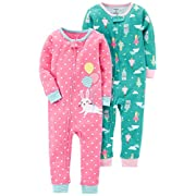 Carter's Baby Girls' 2-Pack Cotton Footless Pajamas, Bunny/Princess, 18 Months