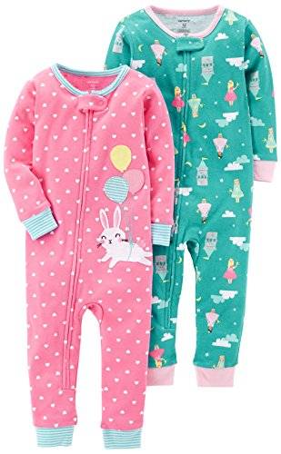 Carter's Girls' 2-Pack Cotton Footless Pajamas, Bunny/Princess, 2T